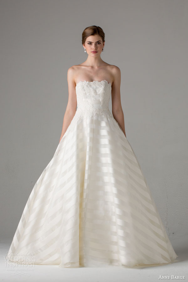anne barge bridal fall 2015 deauville strapless a line wedding dress lace appliques bodice