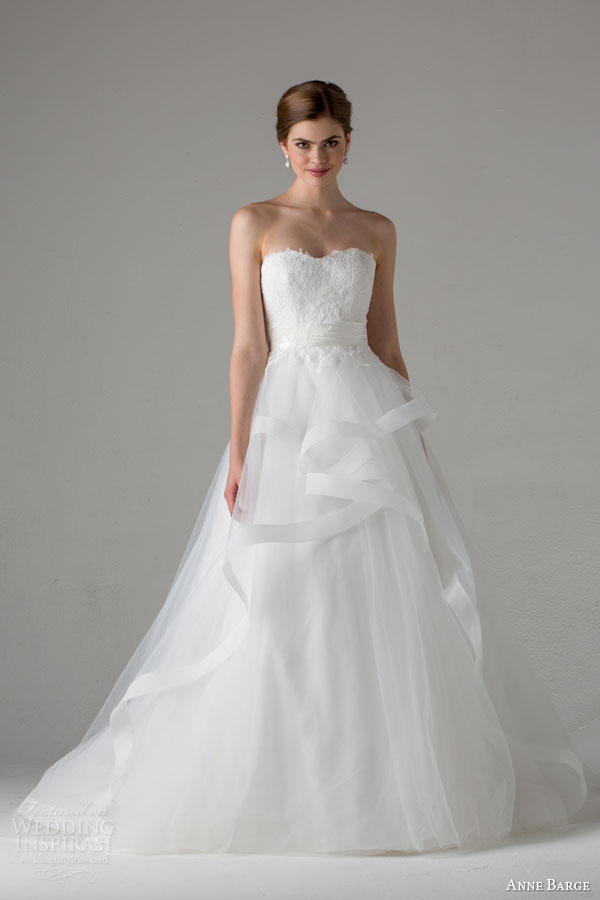 anne barge bridal fall 2015 emma strapless a line wedding dress horsehair tiered skirt lace bodice
