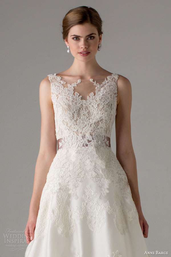 anne barge bridal fall 2015 giverny sleeveless wedding dress illusion bateau neck lace bodice close up