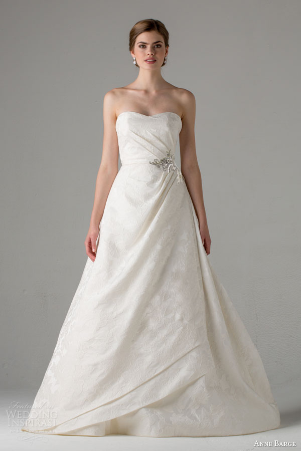 anne barge bridal fall 2015 helette strapless a line wedding dress side draped bodice