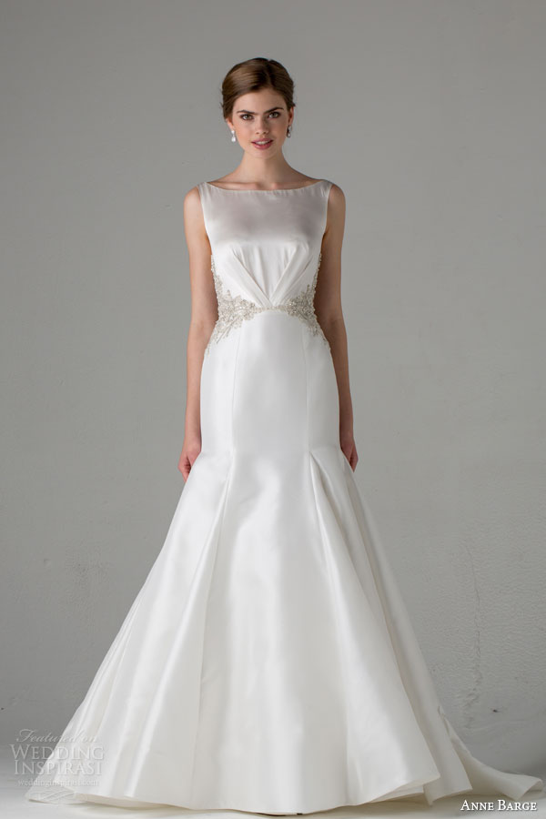 anne barge bridal fall 2015 natalie sleeveless bateau neckline mermaid wedding dress embellished waist