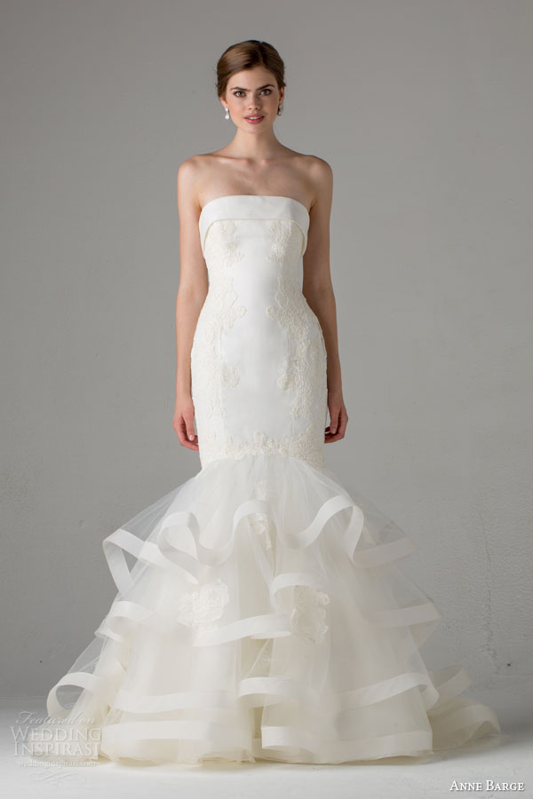anne barge bridal fall 2015 paris strapless mermaid wedding dress lace appliques horsehair tiered skirt