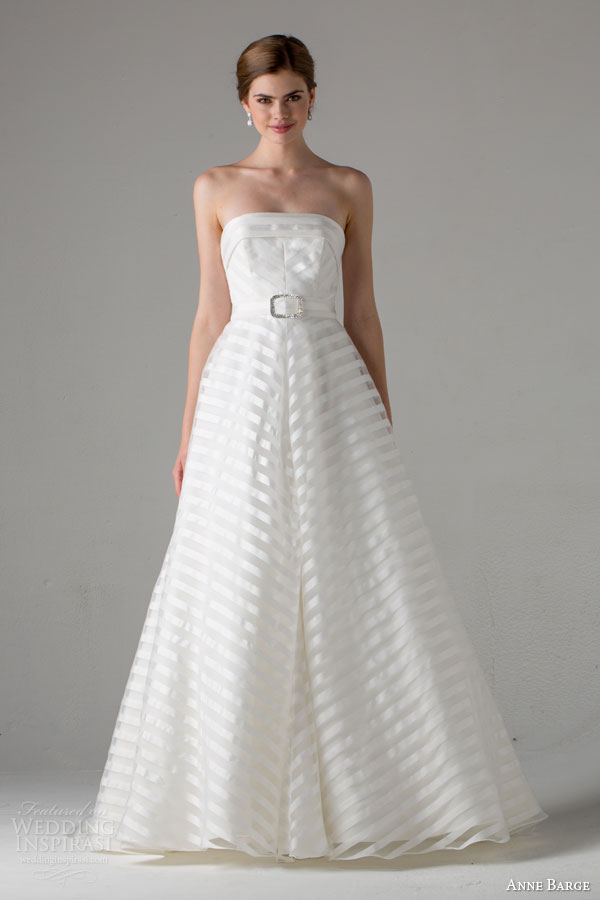 anne barge bridal fall 2015 pippa strapless striped a line wedding dress crystal buckle