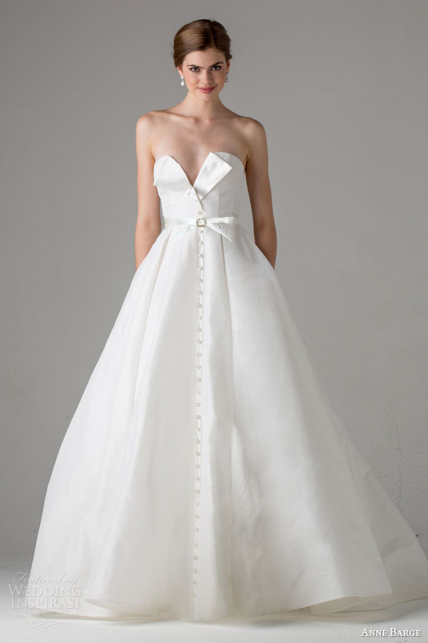 anne barge bridal fall 2015 poppy strapless a line wedding dress button front