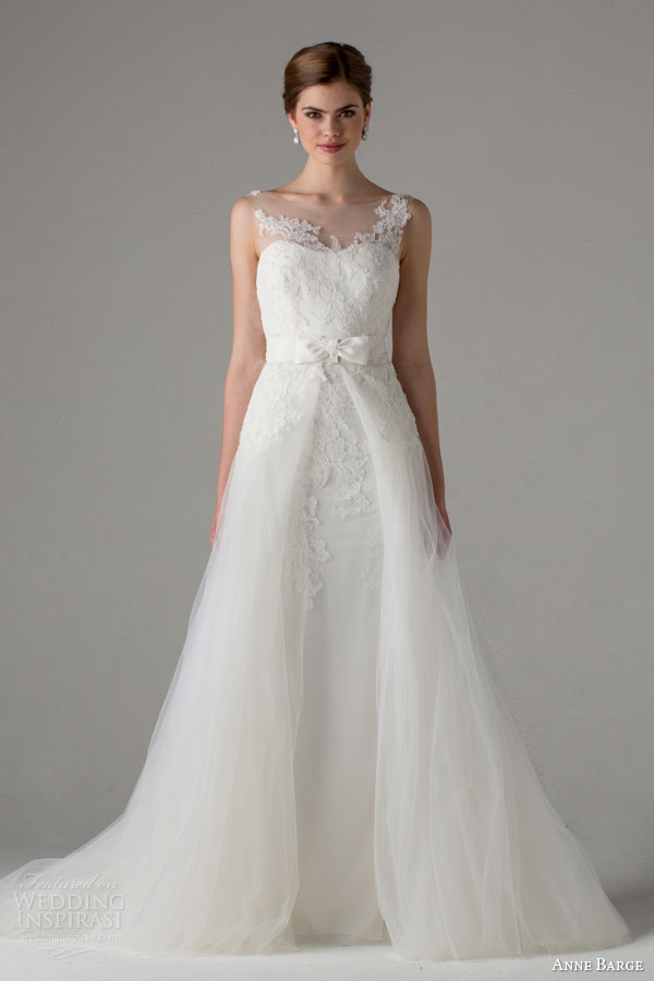 anne barge bridal fall 2015 strasbourg sleeveless wedding dress illusion neckline bateau over skirt