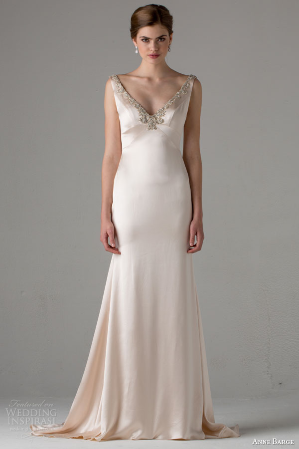 anne barge bridal fall 2015 tallulah sleeveless pale pink wedding dress embellished v neckline