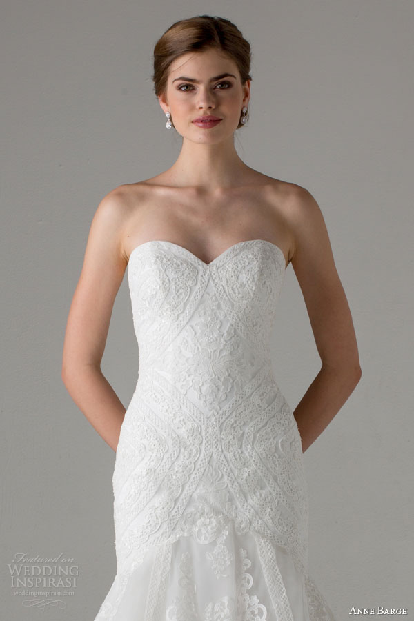 anne barge bridal fall 2015 taylor strapless fit flare sweetheart lace wedding dress close up bodice