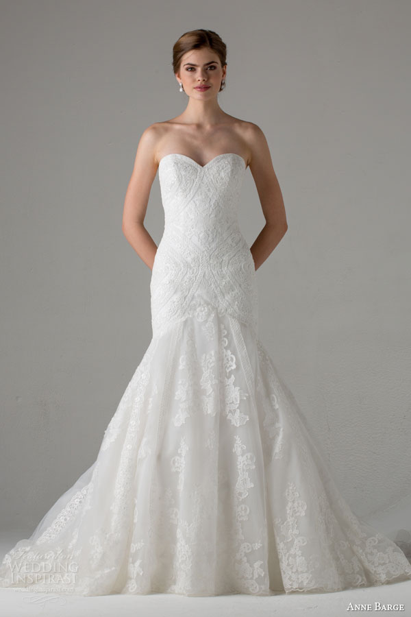 anne barge bridal fall 2015 taylor strapless fit flare sweetheart lace wedding dress