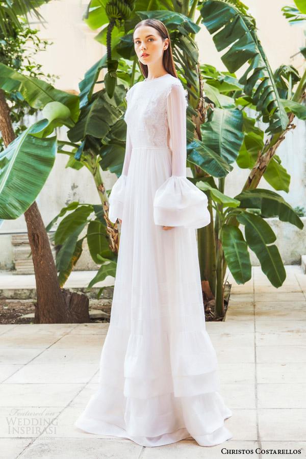 Christos costarellos 2015 wedding dresses wedding inspirasi for Bell sleeve wedding dress