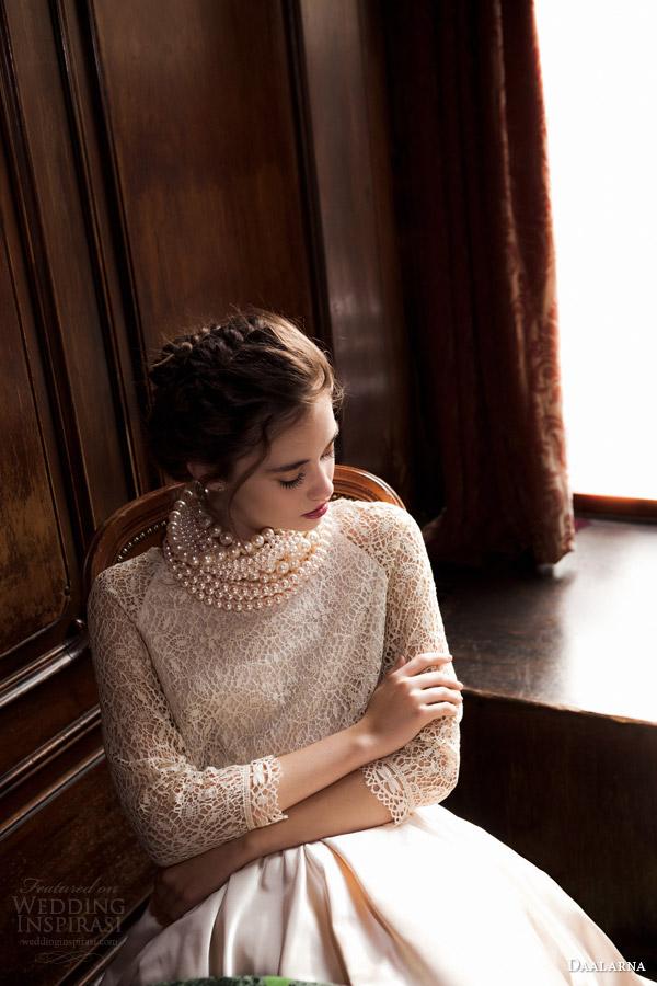 daalarna 2015 pearl bridal collection ball gown wedding dress three quarter crochet top