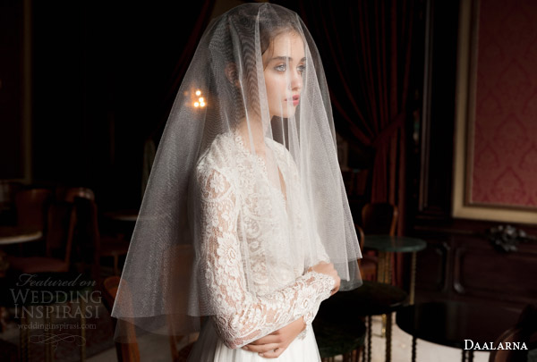 daalarna 2015 pearl bridal collection long sleeve lace bodice ball gown wedding dress