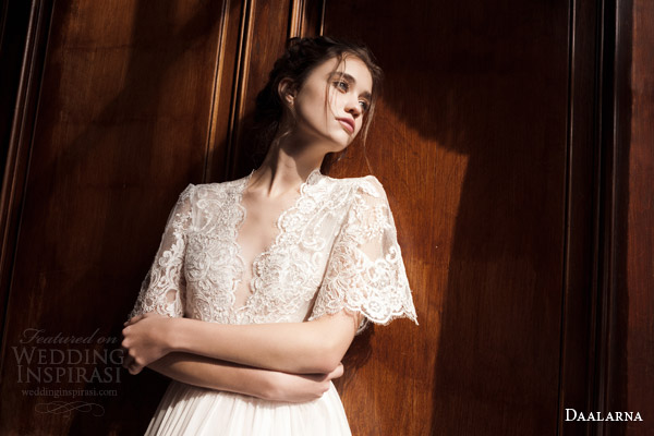 daalarna 2015 pearl bridal collection wedding dress lace cape flutter scalloped sleeve top front