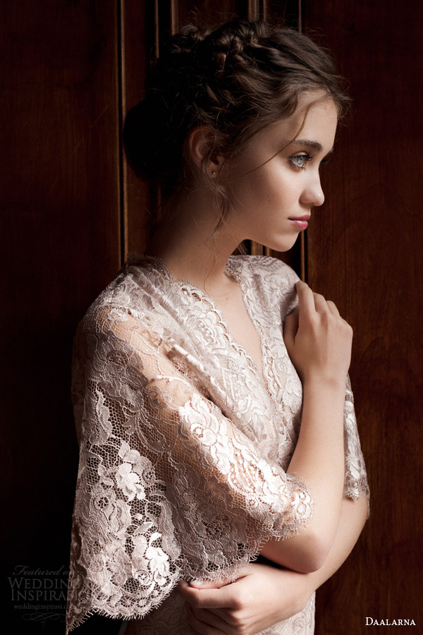 daalarna 2015 pearl bridal collection wedding dress lace cape flutter scalloped sleeve top