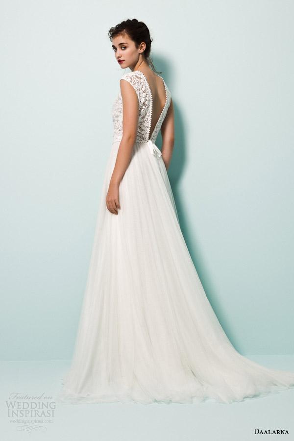 daalarna bridal 2015 pearl a line wedding dress lace cap sleeve top v back