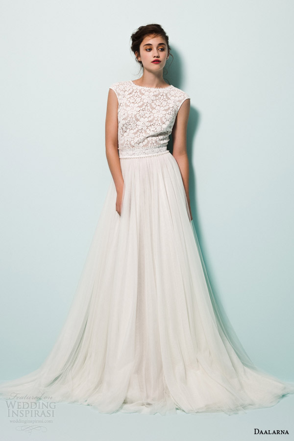 daalarna bridal 2015 pearl a line wedding dress lace cap sleeve top