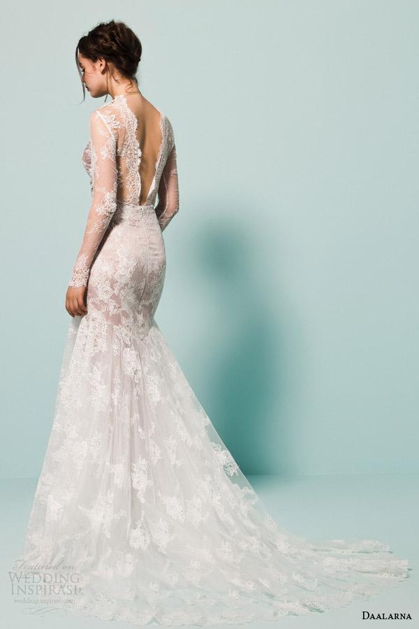 daalarna bridal 2015 pearl bridal collection illusion  long sleeve fit flare mermaid wedding dress scalloped v neckline back
