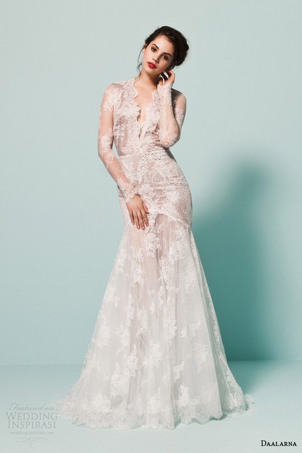 daalarna bridal 2015 pearl bridal collection illusion  long sleeve fit flare mermaid wedding dress scalloped v neckline
