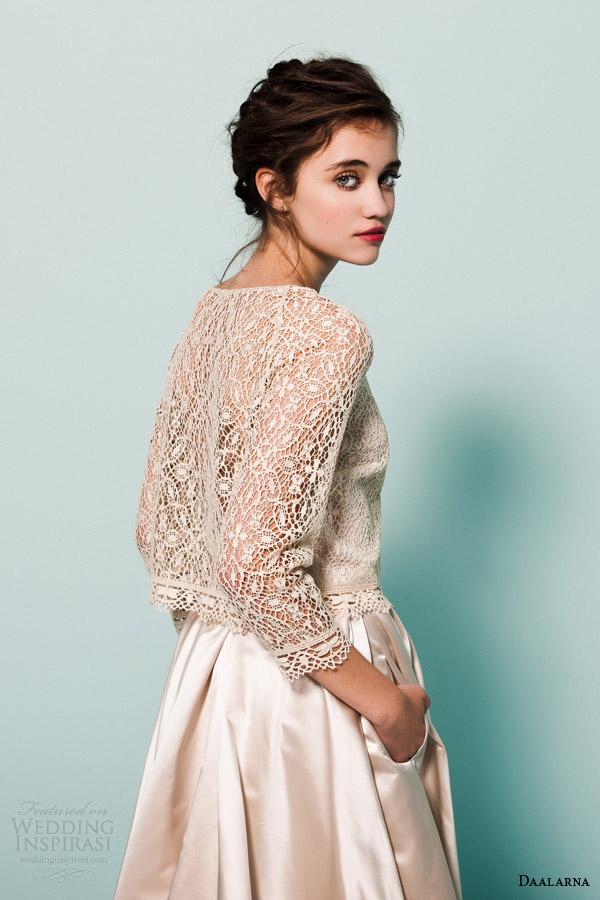 daalarna bridal 2015 pearl collection wedding dress lace long sleeve top satin ball gown skirt pocket close up