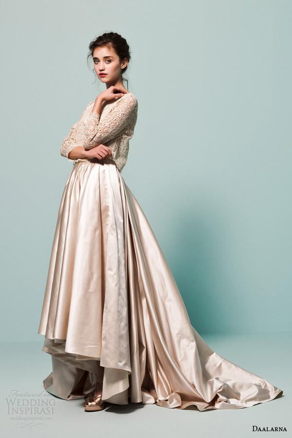 daalarna bridal 2015 pearl collection wedding dress lace long sleeve top satin ball gown skirt