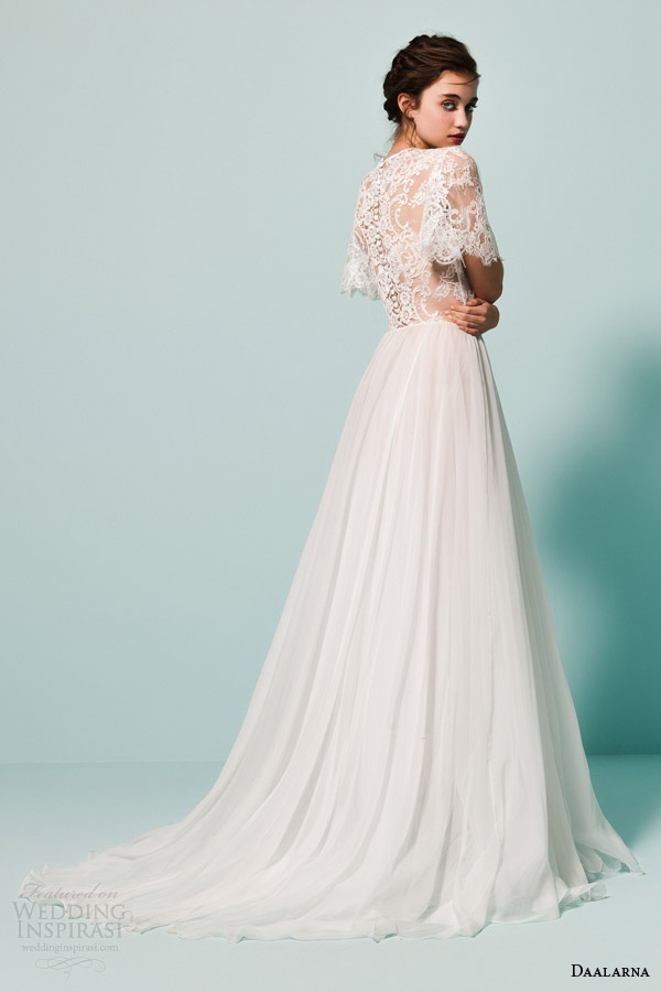 daalarna bridal 2015 pearl collection wedding dress romantic lace sleeve top back view