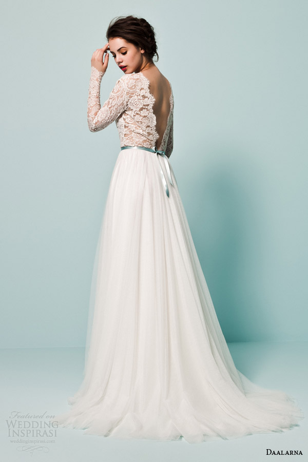 daalarna bridal 2015 pearl collection wedding dresses long sleeve lace top tulle a line skirt colored sash