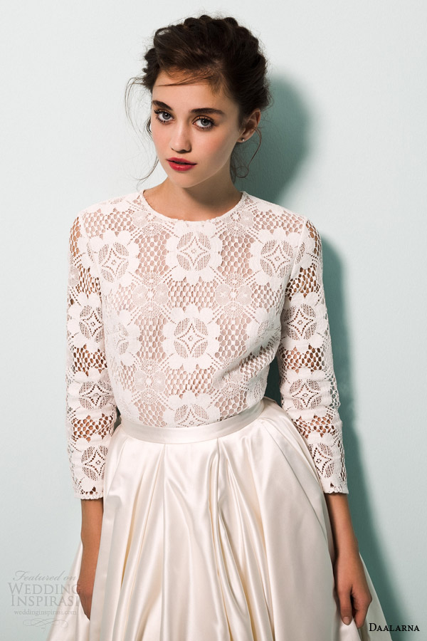 daalarna bridal 2015 pearl collection wedding dresses long sleeves high low ball gown skirt close up lace crochet bodice