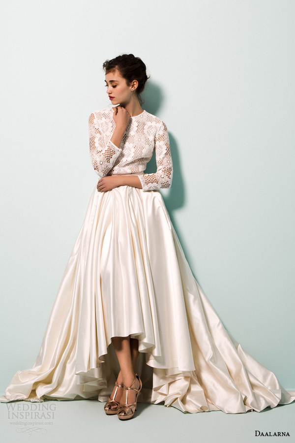 daalarna bridal 2015 pearl collection wedding dresses long sleeves high low ball gown skirt