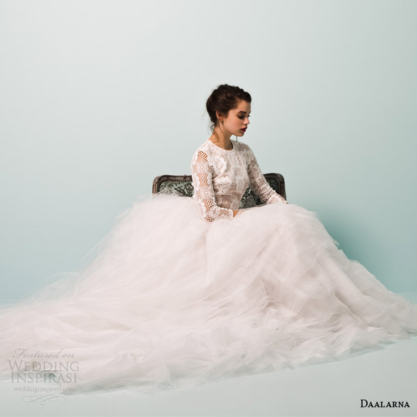 daalarna bridal 2015 pearl collection wedding dresses long sleeves layered tulle ball gown skirt close up lace crochet bodice