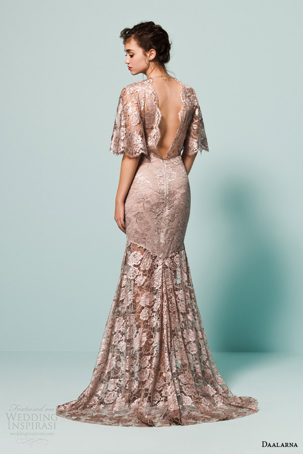 daalarna bridal 2015 pearl flutter cape sleeve metallic taupe colored wedding dress scalloped v back