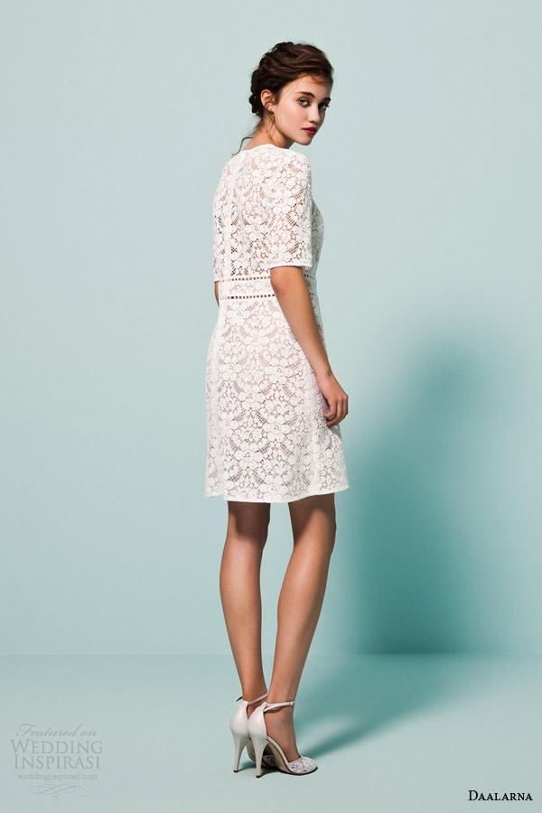 daalarna bridal 2015 pearl half sleeve short lace wedding dress back view