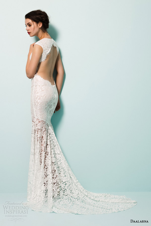 daalarna bridal 2015 pearl lace mermaid wedding dress high neckline slit cap sleeves keyhole back