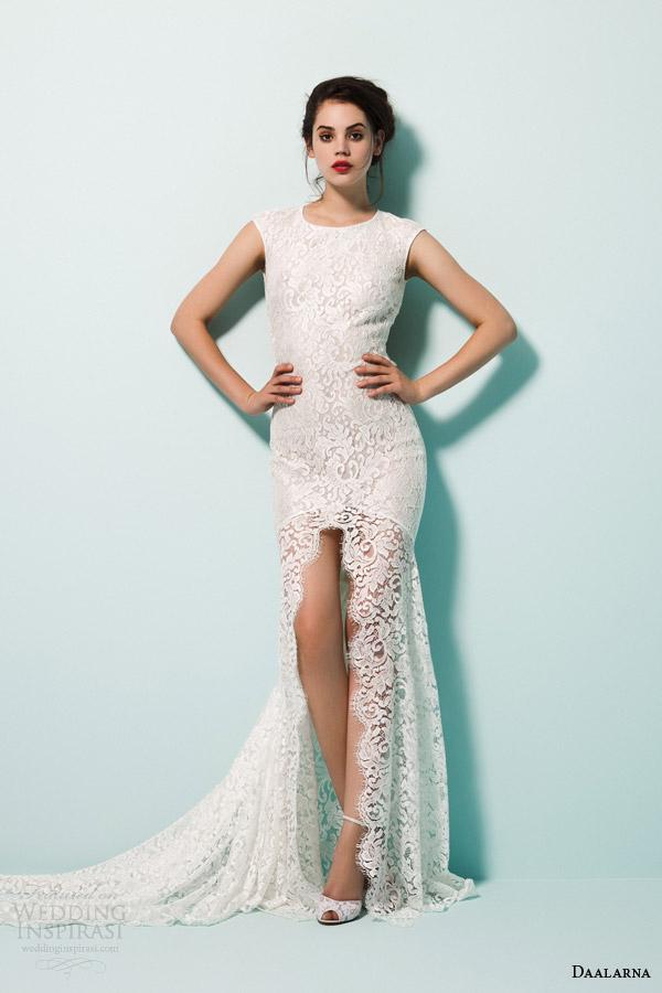 daalarna bridal 2015 pearl lace mermaid wedding dress high neckline slit cap sleeves keyhole