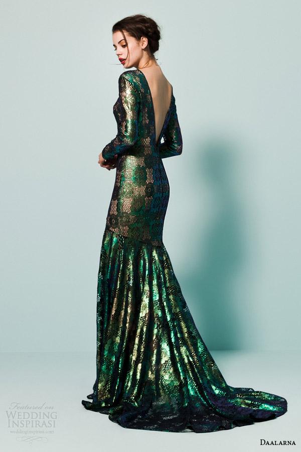 daalarna bridal 2015 pearl long sleeve metallic green colored wedding dress v back