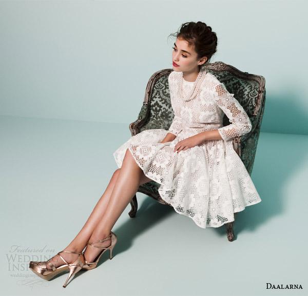daalarna bridal 2015 pearl long sleeve short wedding dress