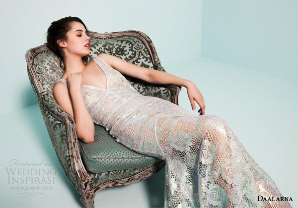 daalarna bridal 2015 pearl long sleeve v neck crochet lace colored wedding dress mermaid silhouette
