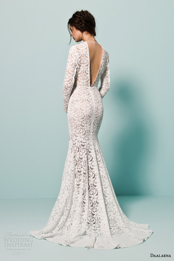 daalarna bridal 2015 pearl long sleeve v neck crochet lace wedding dress mermaid silhouette back view