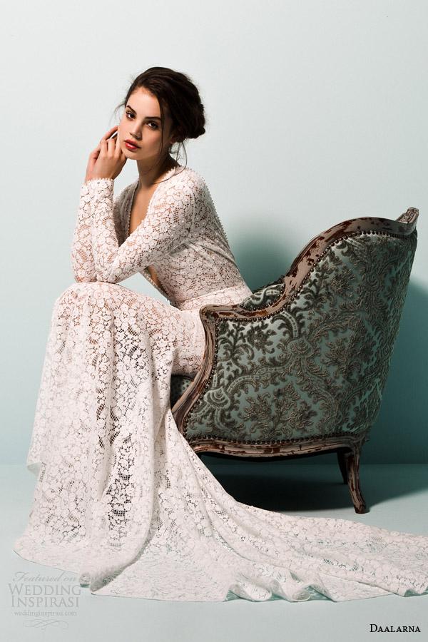 daalarna bridal 2015 pearl long sleeve v neck crochet lace wedding dress