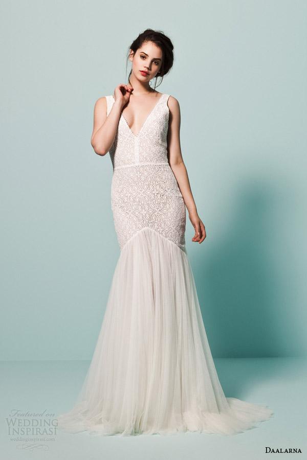 daalarna bridal 2015 pearl sleeveless fit flare mermaid lace bodice v neck straps wedding dress