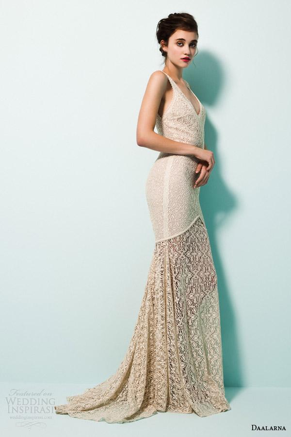 daalarna bridal 2015 pearl sleeveless mermaid wedidng dress