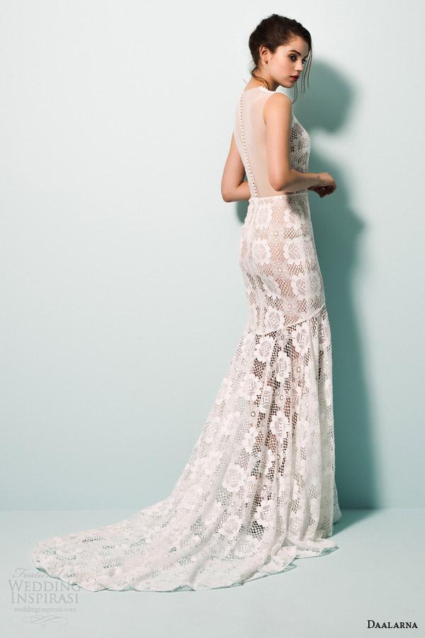daalarna bridal 2015 pearl sleeveless v neck mermaid wedidng dress guipure crochet lace illusion back view