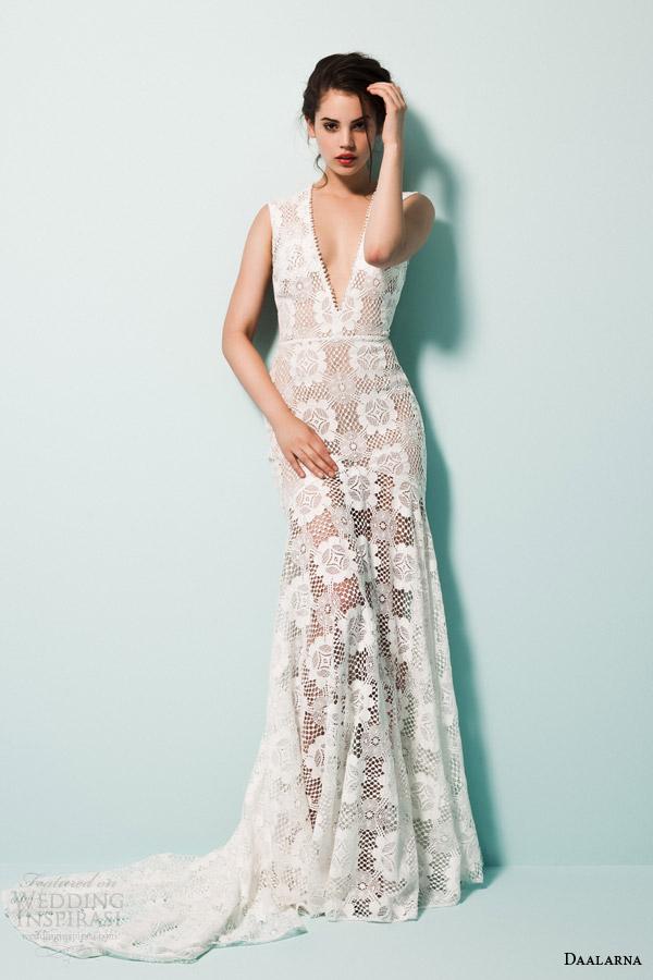 daalarna bridal 2015 pearl sleeveless v neck mermaid wedidng dress guipure crochet lace