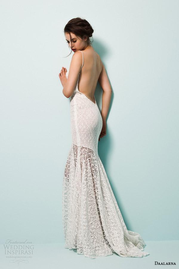 daalarna bridal 2015 pearl strap sheath lace wedding dress back view