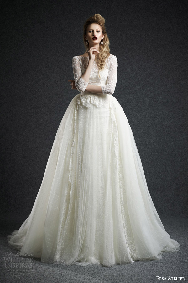 Ersa atelier fall 2015 wedding dresses wedding inspirasi for Wedding dress with overskirt