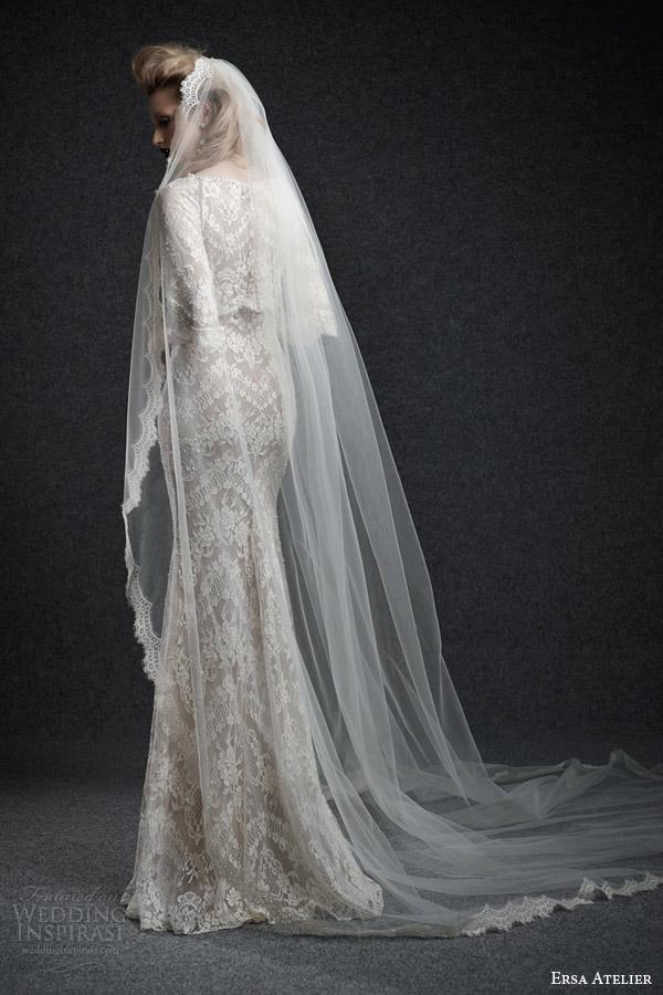 ersa atelier fall 2015 bridal niobe wedding dress lace high neck half sleeves sheath back view veil