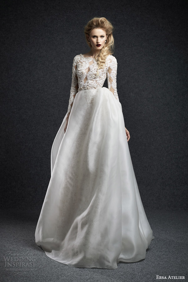 Ersa atelier fall 2015 wedding dresses wedding inspirasi for Lace wedding dress overlay