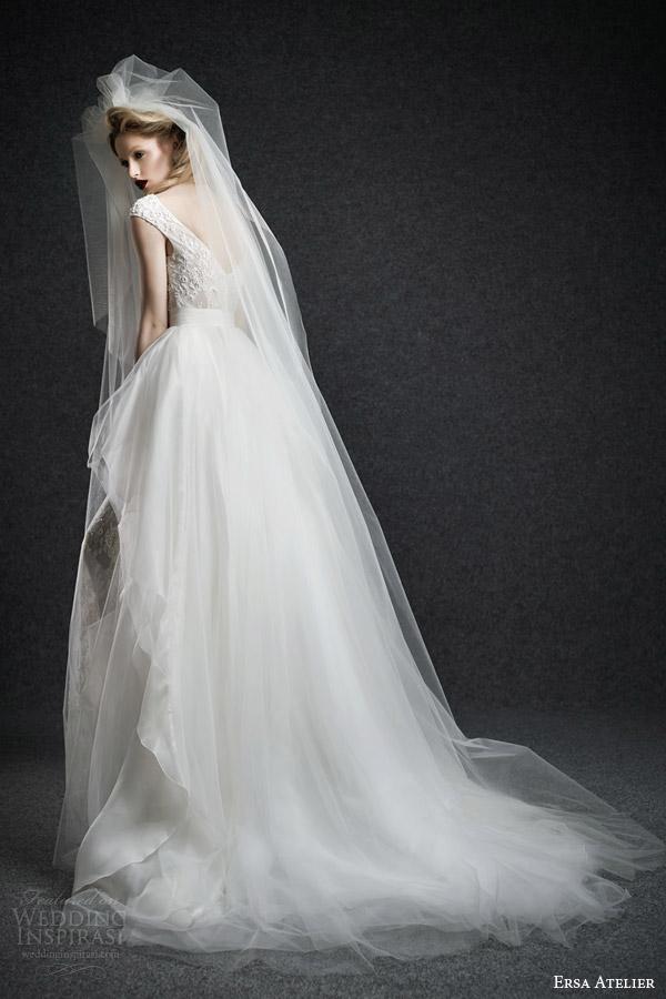 ersa atelier wedding dresses fall 2015 bridal casiopeia cap sleeve bateau neck lace wedding dress layered ball gown skirt back view train