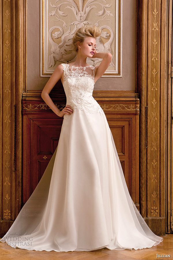 Jillian 2015 wedding dresses iris bridal collection for Sheer bodice wedding dress