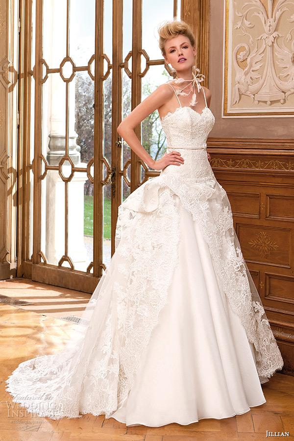 2380bc50d59 jillian 2015 wedding dress spagetti strap sweetheart neckline lace ball gown