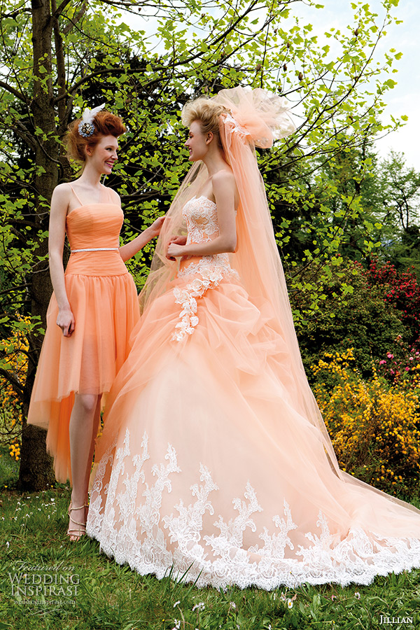 Jillian 2015 wedding dresses iris bridal collection for Peach dresses for wedding