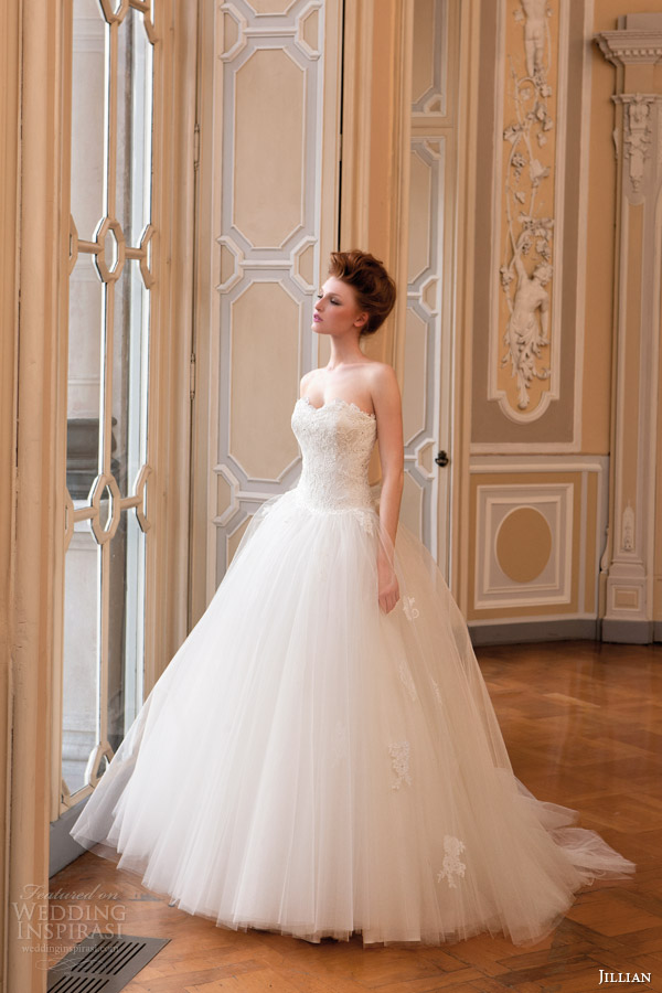 b72ddf20421 jillian sposa bridal 2015 strapless ball gown wedding dress lace sweetheart  bodice tulle skirt